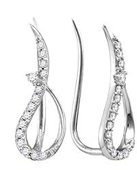 10kt White Gold Womens Round Diamond Climber Earrings 1/5 Cttw