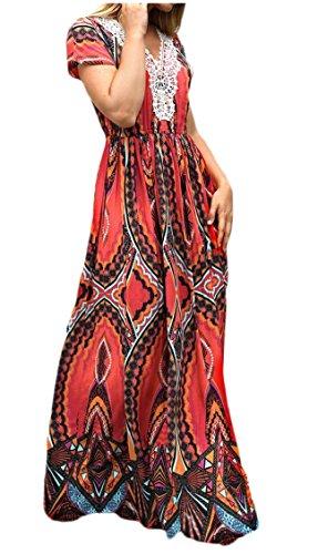Jaycargogo Des Femmes De Robes Maxi Imprimé Floral Boho Partie De Plage Longue Robe 3