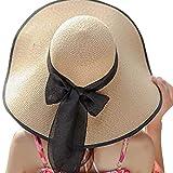 FEDULK Womens Big Bowknot Brim Straw Wide New Hat Floppy Roll up Beach Cap Sun Hat Folding Beach Cap(H, One Size)
