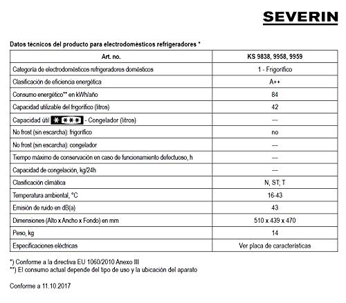 Severin KS 9838 Mini-Frigorífico, 42 L, Blanco: Amazon.es: Hogar
