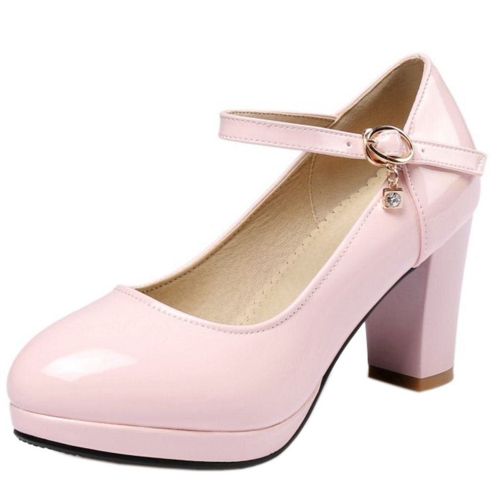 Zanpa Damen Sweet Pumps Blockabsatz32 EU (sole length 21 CM)|Pink