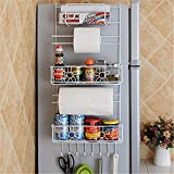 Canyixiu Metal Sidewall Suction Cup Refrigerator Storage Rack, Spice Rack Multi-Purpose Shelf—Wall Mounted Storage Kitchen Accessories, Towels, BathroomSupplies, Etc.—Ideal Home/Kitchen