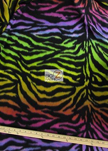 Zebra Print Fabric By The Yard (RAINBOW ZEBRA PRINT POLAR FLEECE FABRIC 60