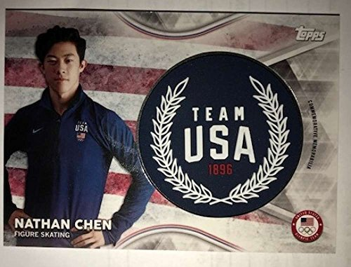 2018 Topps US Winter Olympics Team USA Memorabilia Pieces Jumbo Wreath #TMC-NC Nathan Chen NM-MT MEM from US Winter Olympics