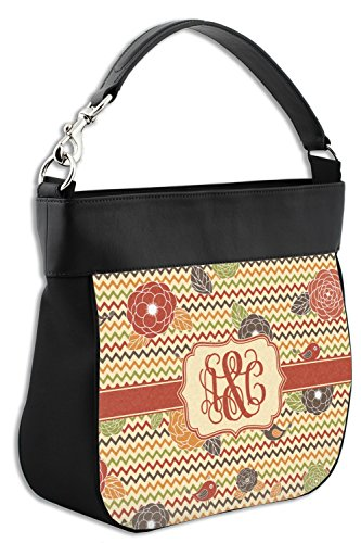 Genuine w Flowers Front Personalized Chevron Back Trim amp; Purse Fall Leather Hobo amp; 6ngaRq