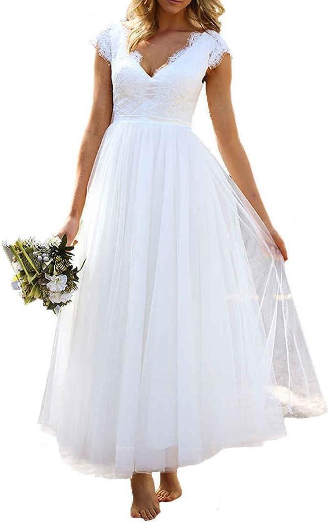 Amazon Com Women Cap Sleeves Bridal Gowns Tea Length Short Lace Beach Wedding Dresses For Bride Clothing