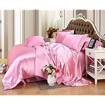 Image of 600TC 1 Piece 500GSM Fiber Fill Comforter California Queen Size Pink Solid 100% Silky Satin - by AP Beddings Home and Kitchen