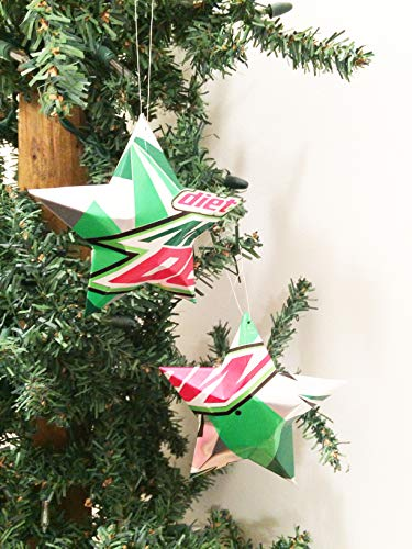 Diet Mtn Dew, Diet Mountain Dew Soda Can Stars, Recycled Aluminum Pop Can Stars, Upcycled Christmas - Ornaments Aluminum Can