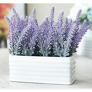 Hibery 6 Bundles Artificial Lavender Plant with Silk Lavender Flowers Lavender Bouquet for Wedding Decor, Home, Garden, Patio Decoration 5
