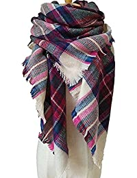 Women's Plaid Blanket Scarf Winter Scarf Large Soft...
