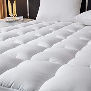 MEETLIFE Queen Mattress Pad Cover,Quilted Fitted Mattress Topper,Cooling Cotton Pillow Top with 8-21 Inch Deep Pocket (Queen)