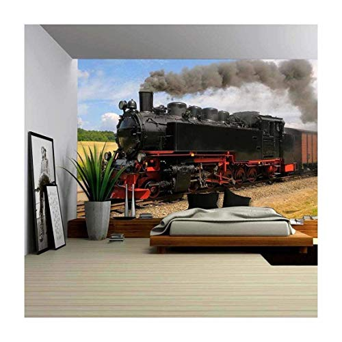 wall26 - Steam Train with Black Smoke Running on Island Rugen, Northern Germany - Removable Wall Mural | Self-Adhesive Large Wallpaper - 66x96 inches (Train Wall Decals)