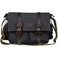 S-ZONE Vintage Canvas Leather Trim DSLR SLR Camera Shoulder Messenger Bag (Black)