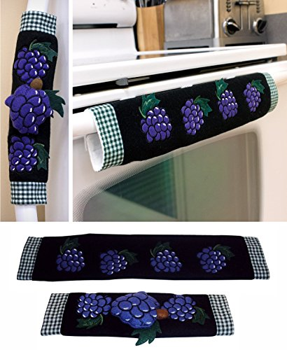 Grape Handle (Kitchen Appliance Handle Covers with Grape Design, Stove Handle Covers, Refrigerator Handle Covers Wrap Around - Kitchen Gift, Kitchen Decor Set of 2 Pieces.)