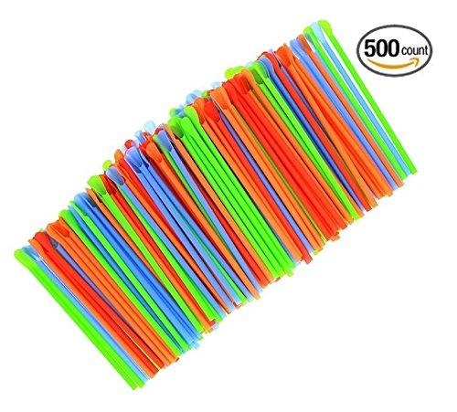 (500-Pack) Sno-Cone Spoon Drinking Straws Unwrapped, Assorted Neon Colors Disposable Plastic Straw, 7-1/4
