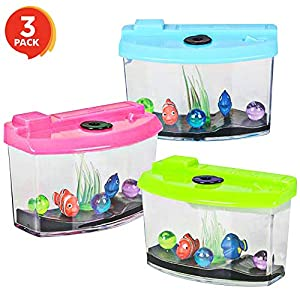 ArtCreativity 3 Inch Growing Aquarium Toy for Kids – Set of 3 – Fish Grow 5X Bigger in Water – Fun Expanding Animals – Best Gift Idea, Birthday Party Favor for Boys and Girls – Assorted Neon Colors
