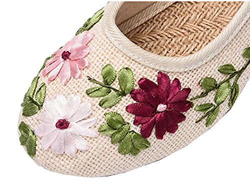 Womens Summer Flower Embroidery Linen Flats Round Toe Loafer Slip On Shoes Apricot abmJHsI
