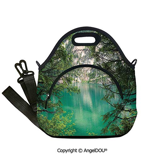 AngelDOU Landscape Fashion shoulder Neoprene lunch bag Mountain Lake Lago di Braies in Italy Mountain View with Fresh Pine Trees Outdoor Travel Picnic Beach Party.12.6x12.6x6.3(inch)]()