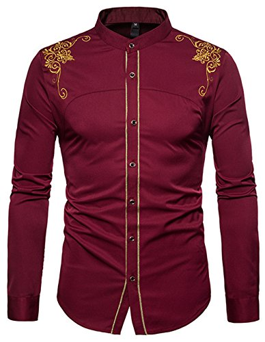 Casual Solid Stand Collar - HOP Fashion Men's Casual Long Sleeve Solid Embroidery Slim Fit Button Down Dress Shirt for Business Stand Collar Shirts HOPM139-Wine-L