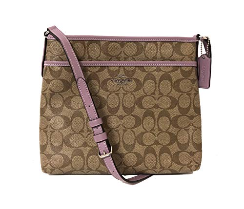 Coach Signature Zip File Crossbody Bag (SV/Khaki Jasmine), Medium