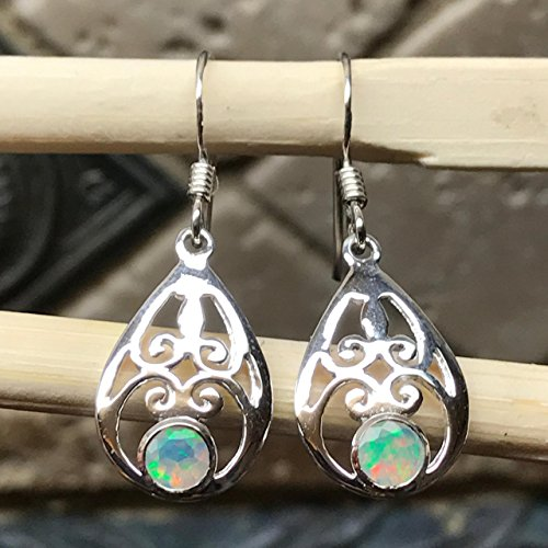 (Genuine Ethiopian Opal 925 Solid Sterling Silver Filigree Earrings 30mm Long)