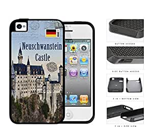 Neuschwanstein Castle Postcard Schwangau Germany 2-Piece Dual Layer High Impact Rubber Silicone Cell Phone Case Apple iPhone 4 4s