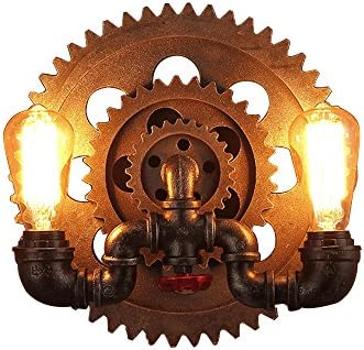 JinYuZe Retro Industrial Wall Sconce,New Rustic 2-Light E26 Edison Light Fixture,with Water Pipes and Gear Wheels