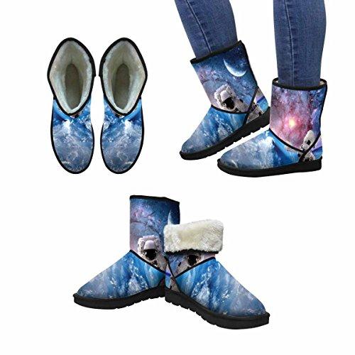 Interestprint Womens Snow Boots Astronauta Spaceman Esterno Space Moon Pianeta Sistema Solare Universo Unique Designed Comfort Winter Boots Multi 1