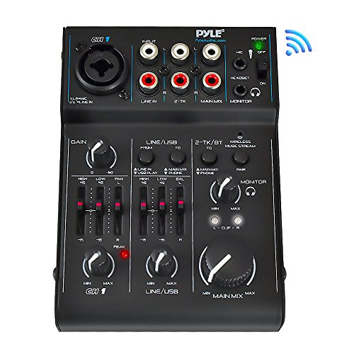 3 Channel Bluetooth Audio Mixer - DJ Sound Controller Interface with USB Soundcard for PC Recording, XLR, 3.5mm Microphone Jack, 18V Power, RCA Input/Output for Professional and Beginners - PAD30MXUBT ()