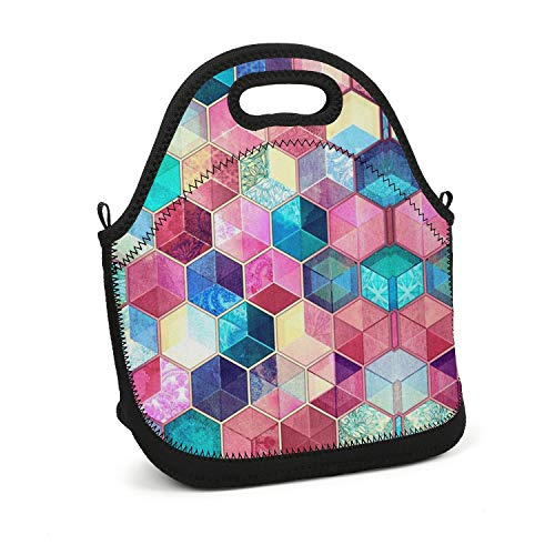 Hiunisyue Lunch Box Topaz Ruby Crystal Cubes Insulated Lunch Bag for Women, Men and Kids - Reusable Soft Lunch Tote for Work School Picnic