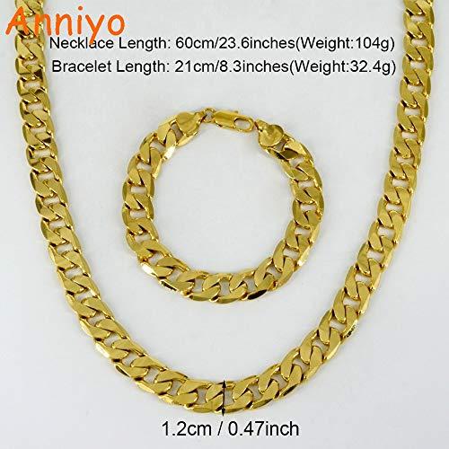 LTH12 Africa Necklace Bracelets Set Men & Copper Hop Heavy Chain Ethiopian/Arab/Middle East #050302