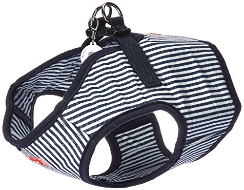 Puppia PARA-HB1523-SN-XL Striped Navy Bobby Harness B Pet-Vest-Harnesses, X-Large