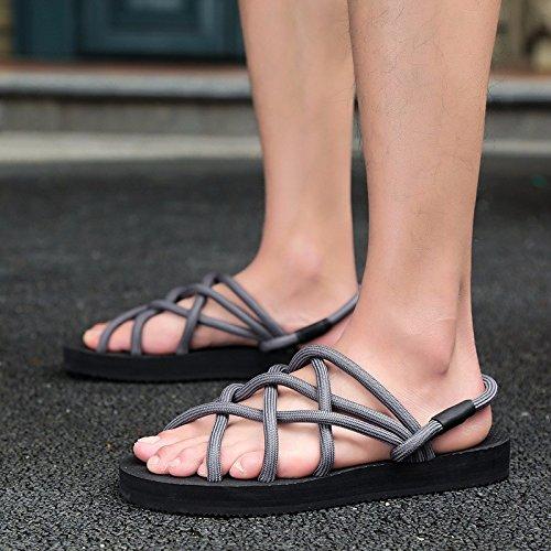 Sandalen Männer Freizeit Schuh Männer Sandalen Sommer Jugend Rom Sandalen Rutschfest Strand Sandalen ,grau,US=8,UK=7.5,EU=41 1/3,CN=42