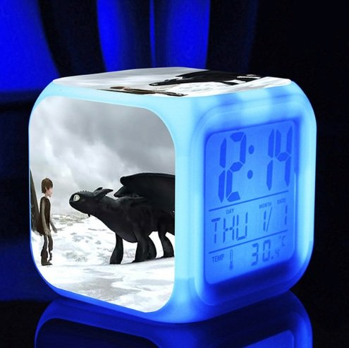 How to Train Your Dragon Alarm Clock Digital Action Toy Figures Thermometer Digital Alarm Desktop Glowing Clock with 7 Changing LED Clock (Style 13)