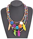Shineland Alloy Handmade Colorful Acrylic Seed Bead,Pom Pom Tassels Feathers Rope Chain Necklace (Style #6)