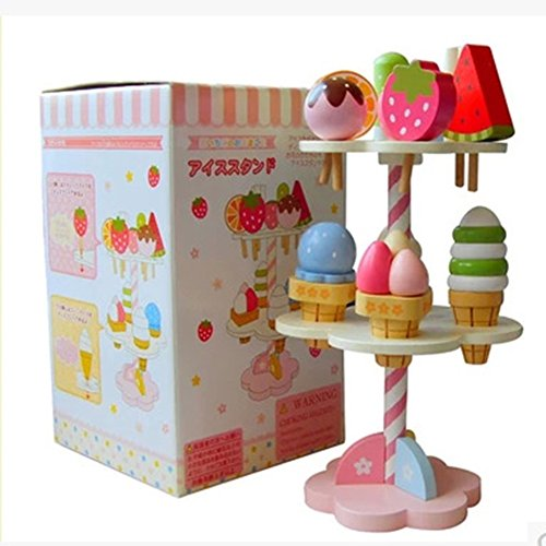 Lanlan 1PCS Wooden Kitchenware Ice Cream Toy Pretend Play Toys Role Play (Ice Cream Dress Up)