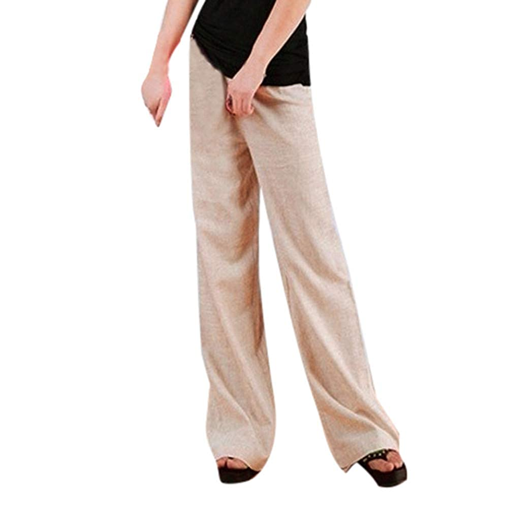iYYVV Women Linen High Waist Long Straight Solid Color Plus Size Wide Leg Yoga Pants