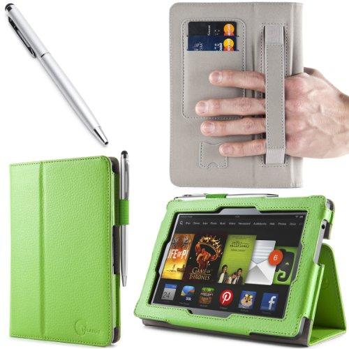 i-BLASON All New Kindle Fire HD  7 inch Tablet Leather Case Cover with Elastic Hand Strap / ID Card Holder  / Stylus  3 Year Warranty