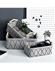 EAQ Storage Basket(3-Pack) Dog Toy Baskets,Large Organizer for Table,Books, Clothes, Nursery Toys, Felt Fabric Storage Box Cubes Containers with Handles