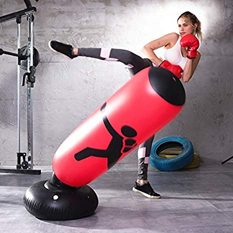 AMTOOCH Inflatable Kids Punching Bag Standing Boxing Bag for Immediate Bounce-Back for Practicing Karate Taekwondo,and can be Taken Anywhere