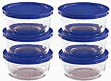6 cup container - Pyrex Storage 2 Cup Round Dish, Clear with Blue Lid, Pack of 6 Containers