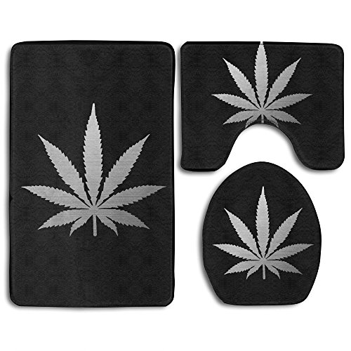 3 Piece Bathroom Rug Set - Silver Cannabis Weed Leaf Skidproof Toilet Bath Rug Mat Contour Lid Cover For Shower Spa from BesArts