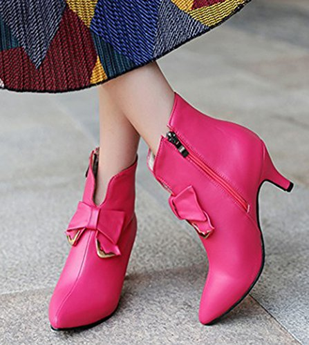 Aisun Kvinna Söt Inuti Zip Upp Dressat Spetsig Tå Boots Stilett Kattunge Klackar Tossor Med Rosetter Röd
