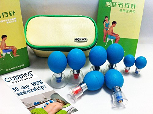 Haci (8) Magnetic Cupping Set with Silicone Bulbs by Cupping Warehouse TM w/Free Membership Site on how to use Cups by Cupping Warehouse TM. Acupuncture & Acupressure Cupping, Silicone Cupping, Chinese Medicine Cupping, Medical Magnetic Cupping.