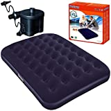 Bestway Portable Flocked Double Airbed Inflatable Air Bed Camping Travel Guest Mattress And Battery Powered Portable Sidewinder D Cell Air Pump Set