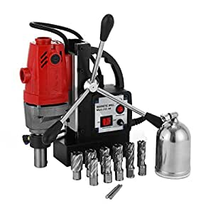 LOVSHARE MD40 Magnetic Drill 1100W Compact Electromagnetic Drill Press 12000N Traction 550 RPM Precise Cuts Tapping Magnetic Drilling System With Cutter Kits (11PCS Drills)