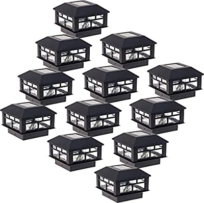 GreenLighting 12 Pack Modern Design Solar Powered 5 Lumen Post Cap Light for 4x4 Wood Posts (Black)