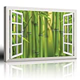 """good looking bamboo wall mural Canvas Prints Wall Art - Modern White Window Looking Out Into a Bamboo Forest II - Canvas Art Home Decor - 12"""" x 16"""" inches"""