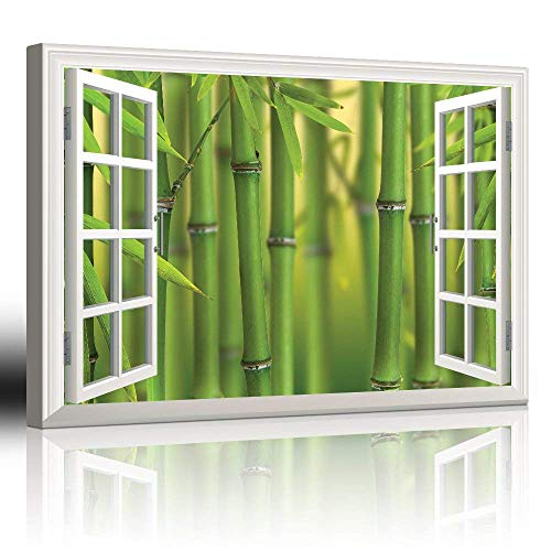 """Canvas Prints Wall Art - Modern White Window Looking Out Into a Bamboo Forest II - Canvas Art Home Decor - 12"""" x 16"""" inches"""