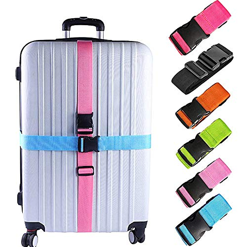 6 Pack Luggage Straps, Adjustable Suitcase Belts, Briskyloom Heavy Duty Non-Slip Travel Luggage Straps, TSA Approved With Quick-release Buckle Travel Accessories Bag Straps (Multicolored)